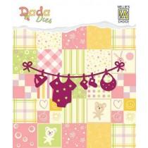 Vyrezávacia šablóna - detská šnúra s oblečením