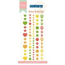 Enamel tvary - green & orange