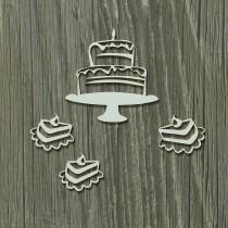 Lepenkový výrez -  narodeninová torta