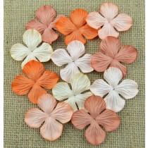 Papierové kvety - oranžové hortenzie  2,5 cm