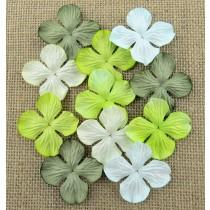 Papierové kvety - zelené hortenzie  2,5 cm