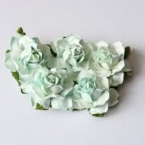 Papierové kvety - cottage 3cm aqua 5ks