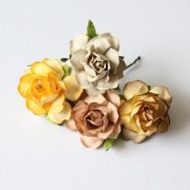 Papierové kvety - cottage 3cm naturálne 4ks