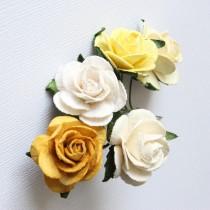 Papierové kvety - prírodné ruže 2,5 cm (5ks)