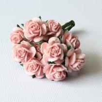 Papierové kvety - open roses ružové 10ks (1,5cm)