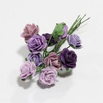 Papierové kvety - open roses fialové (10ks, 1 cm)