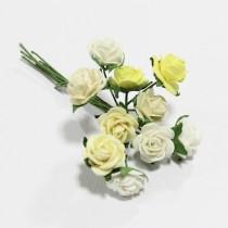Papierové kvety - open roses bielo/krémové (10ks, 1 cm)