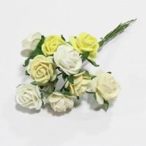 Papierové kvety - open roses bielo/krémové (10ks, 1,5 cm)