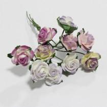 Papierové kvety - open roses fialové tónované  (10ks, 1,5 cm)