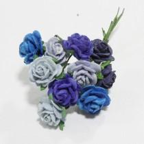 Papierové kvety - open roses modré   (10ks, 1,5 cm)