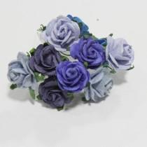 Papierové kvety - open roses modré   (10ks, 2cm)