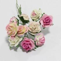 Papierové kvety - open roses ružové tónované  (10ks, 1,5 cm)