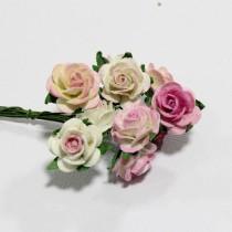 Papierové kvety - open roses ružové tónované  (10ks, 2 cm)