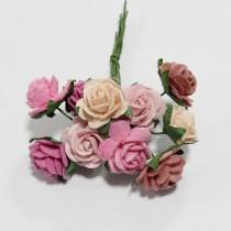 Papierové kvety - open roses ružové   (10ks,  1cm)
