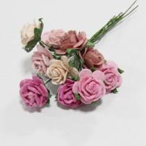 Papierové kvety - open roses ružové   (10ks, 2cm)