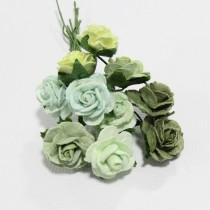 Papierové kvety - open roses zelené (10ks, 1cm)