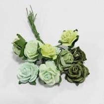 Papierové kvety - open roses zelené (10ks, 1,5cm)