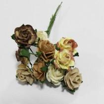 Papierové kvety - open roses hnedé tónované  (10ks, 1,0 cm)