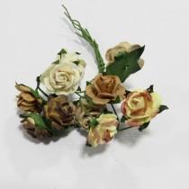 Papierové kvety - open roses hnedé tónované  (10ks, 1,5 cm)