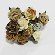 Papierové kvety - open roses hnedé tónované  (10ks, 2 cm)