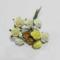 Papierové kvety - open roses žlté (10ks,  1cm)