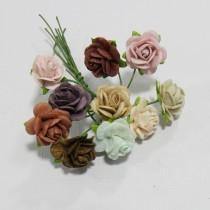Papierové kvety - open roses vintage (10ks,  1,5cm)