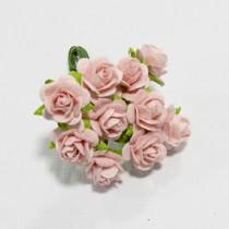 Papierové kvety - open roses pale pink  (10ks,  1cm)