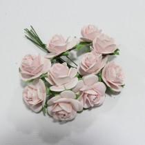 Papierové kvety - open roses pale pink  (10ks,  2cm)
