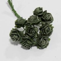 Papierové kvety - open roses olive  (10ks,  1,5cm)