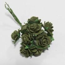 Papierové kvety - open roses olive  (10ks,  1,0cm)