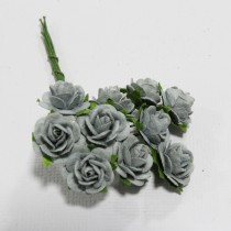Papierové kvety - open roses parma grey (10ks,  1,0cm)