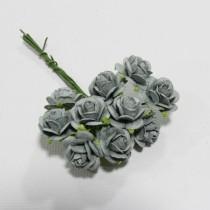 Papierové kvety - open roses parma grey (10ks, 1,5cm)