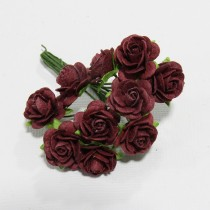 Papierové kvety - open roses burgundy (10ks, 1,0cm)