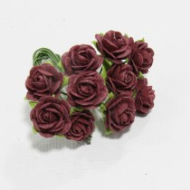 Papierové kvety - open roses burgundy (10ks, 1,5cm)