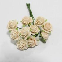 Papierové kvety - open roses pale peach (10ks, 1,0cm)