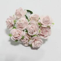 Papierové kvety - open roses mist (10ks, 1,5cm)