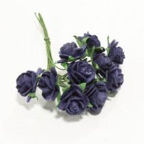 Papierové kvety - open roses navy blue (10ks, 1,0cm)