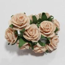 Papierové kvety - open roses marhulové (10ks, 2cm)