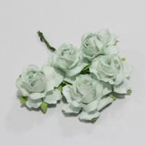 Papierové kvety - cottage roses aqua 2,5 cm 5ks