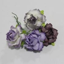 Papierové kvety - cottage roses lilac 2,5 cm 4ks
