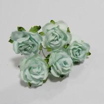 Papierové kvety - wild roses aqua 3 cm 5ks