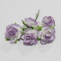 Papierové kvety - wild roses lilac 3 cm 5ks