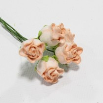 Papierové kvety - peach hip rosebuds 5ks
