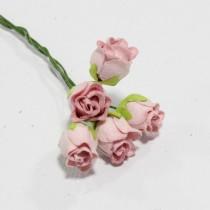 Papierové kvety - baby pink hip rosebuds 5ks