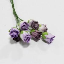 Papierové kvety - ružičky fialové 8 ks
