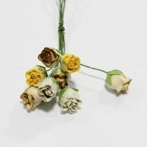 Papierové kvety - ružičky hnedé 8 ks