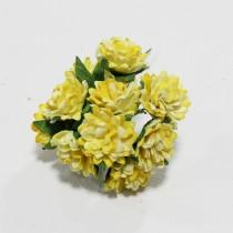 Papierové kvety - aster daisy žlté 10ks