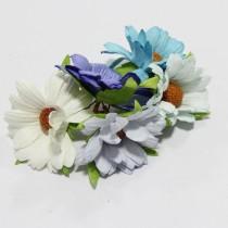 Papierové kvety - modré chryzanétny 5ks