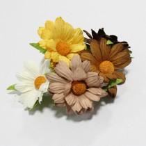 Papierové kvety - prírodné chryzanétny 5ks