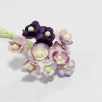 Papierové kvety - mini sweethearts 10ks fialové